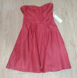 Thakoon Addition red leather dress